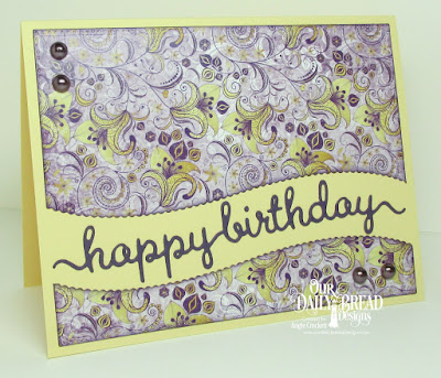 ODBD Custom Happy Birthday Script Die, ODBD Custom Leafy Edged Borders Dies, ODBD Custom Pierced Rectangles Dies, ODBD Whimsical Wildflowers Paper Collection, Card Designer Angie Crockett