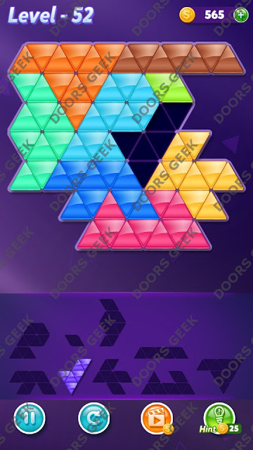 Block! Triangle Puzzle 9 Mania Level 52 Solution, Cheats, Walkthrough for Android, iPhone, iPad and iPod