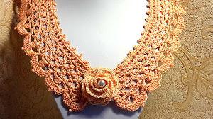 Patrones de Cuello Crochet con detalle de Rosa 3D / Paso a paso