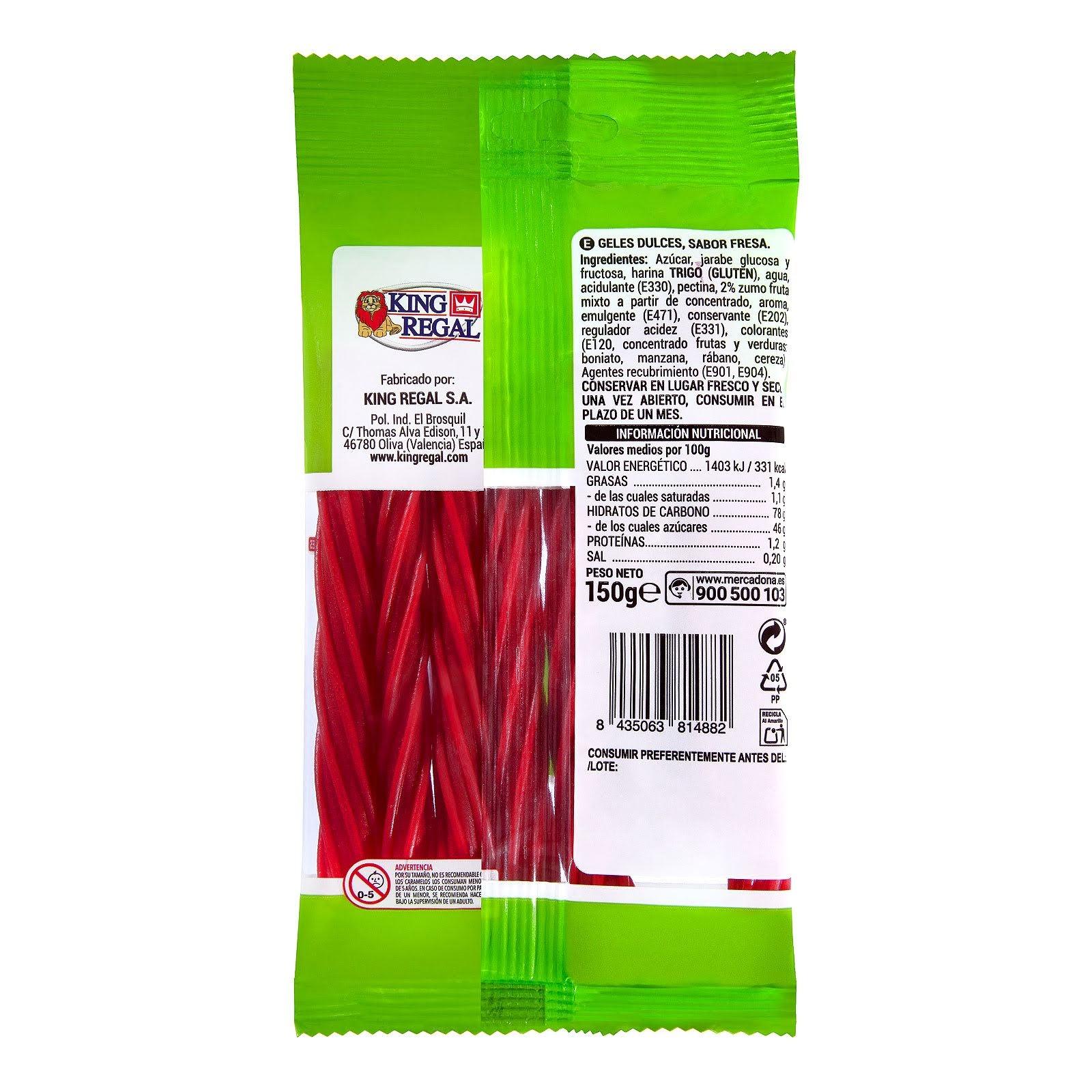 Golosinas regaliz rojo con zumo de fruta Rega Relli Hacendado