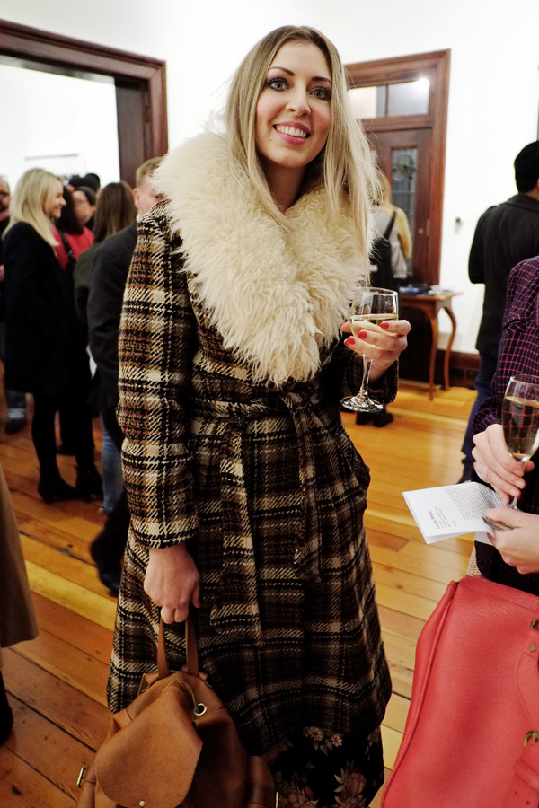 Plaid winter coat with Faux long fur collar - Street Fashion Sydney - Photographed by Kent Johnson.