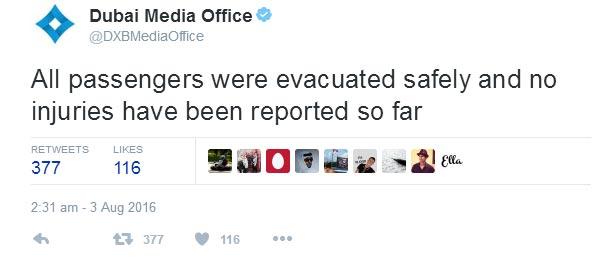 Fire, smoke as plane with 300 people on board crash-lands in Dubai