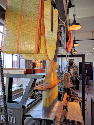 Weaving machine in Norrköping, Sweden fed by punch cards