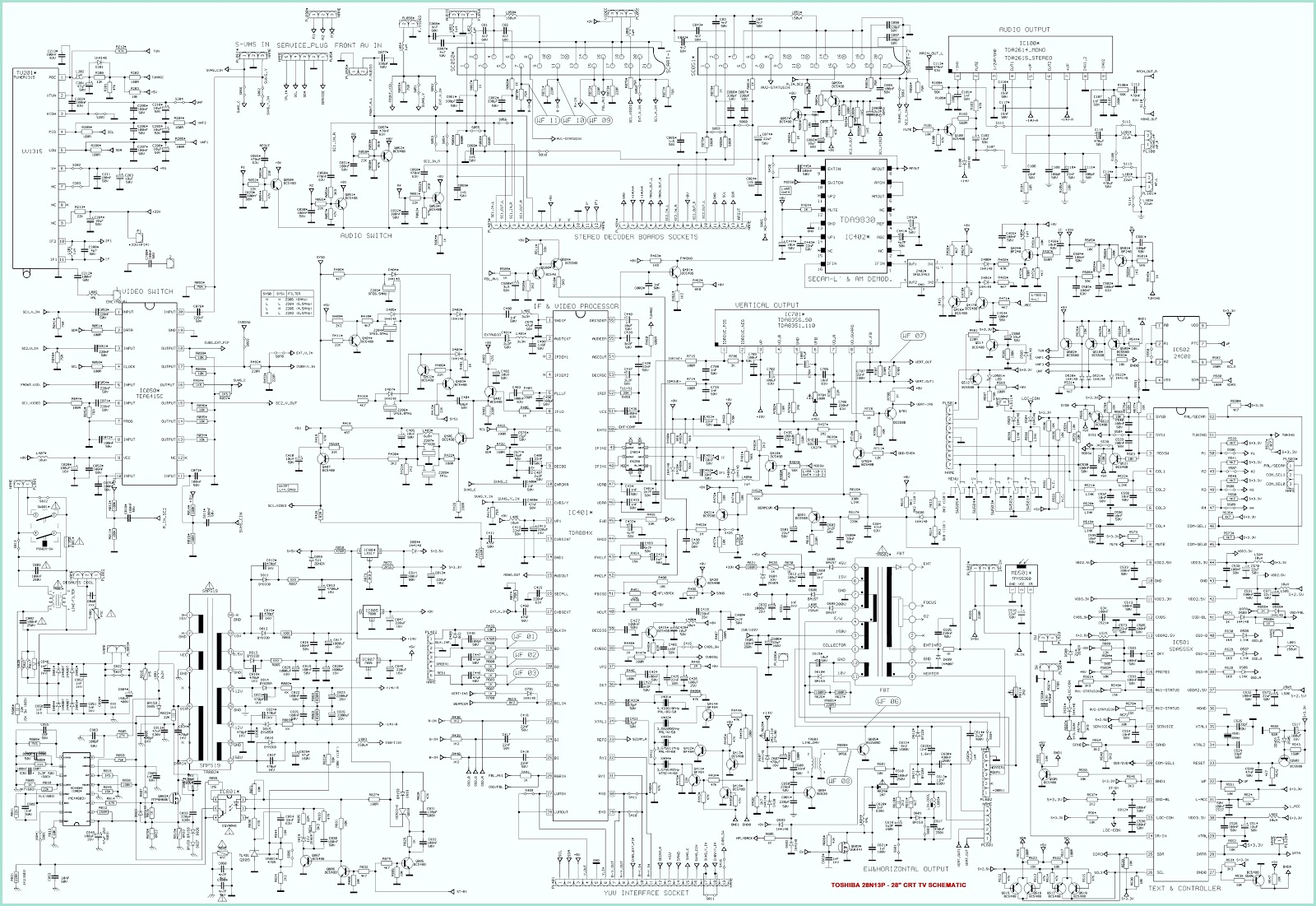 toshiba 28n13p u2013 28 inch crt tv circuit diagram schematic diagramsclick on the schematic to [ 1600 x 1101 Pixel ]
