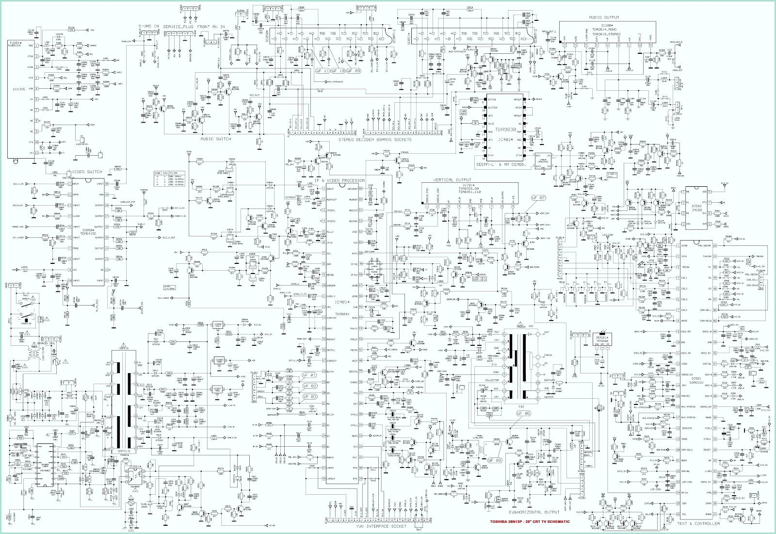 TOSHIBA 28N13P – 28 Inch CRT TV Circuit Diagram
