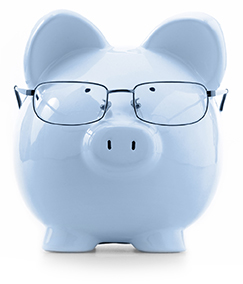 photo of white piggy bank with glasses