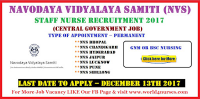 Navodaya Vidyalaya Samiti (NVS)  Staff Nurse Vacancy December 2017 (Central Government Job)
