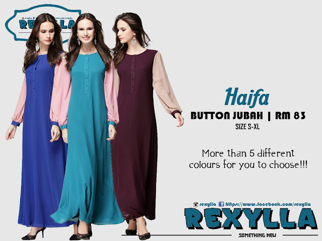 rexylla, jubah, button jubah, joint colour, haifa collection