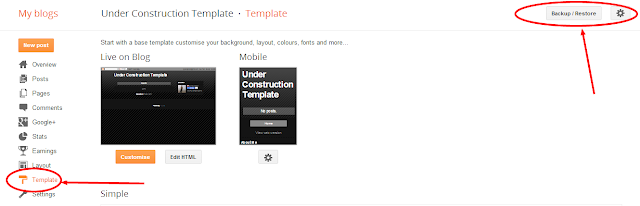 Under Construction Template for Blogger