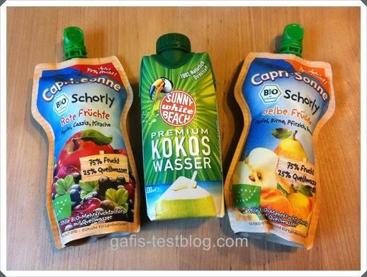 Capri-Sonne Bio-Schorly und SUNNY WHITE BEACH - Kokoswasser