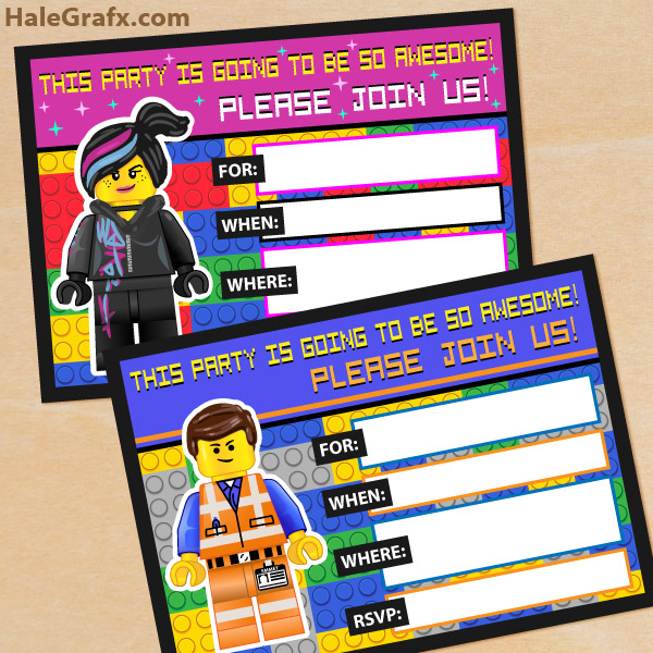 Lego Movie Free Printable Party Invitations and Thank You Cards