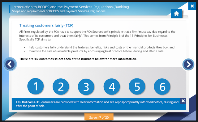 ComplianceServe Screen for Introduction to BCOBs and the Payment Services Regulations (Banking)