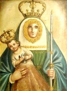 Retrato de la Virgen de la Candelaria cargando al niño Jesús