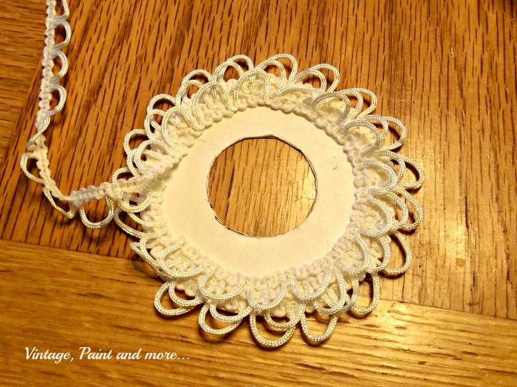 Vintage, Paint and more... handcrafted wreath ornament made with poster board and lace