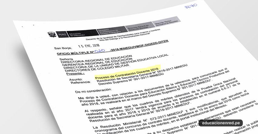 OFICIO MÚLTIPLE N° 020-2018-MINEDU/VMGP-DIGEDD-DITEN - Proceso de Contratación Docente 2018 - www.minedu.gob.pe