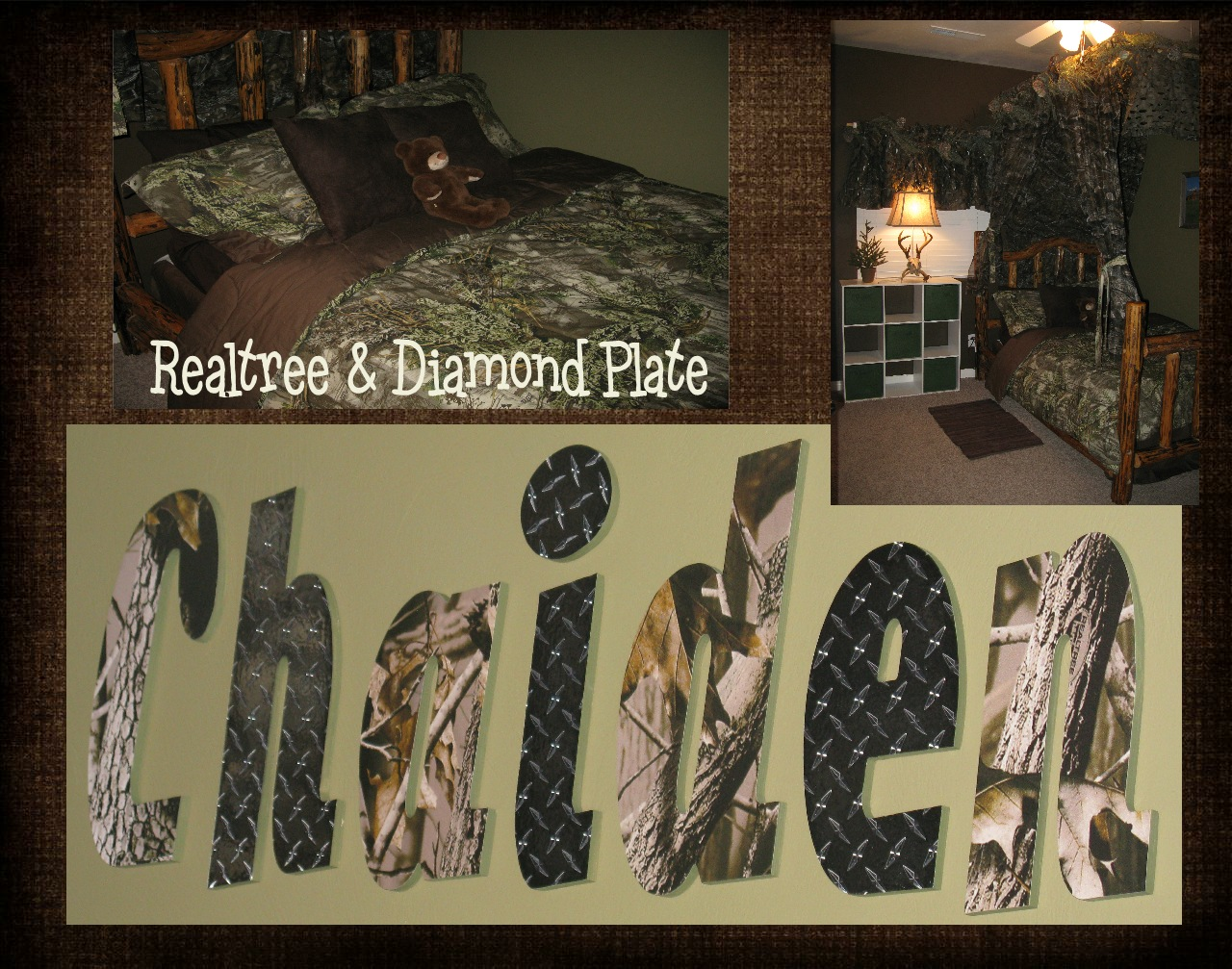 The funky letter boutique how to decorate a boys room in for Camo mural wall