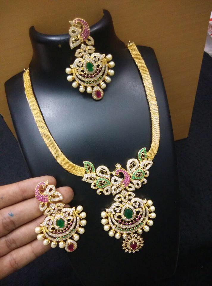 Multi Color Stone Necklace 3000 Rupees Jewellery Designs
