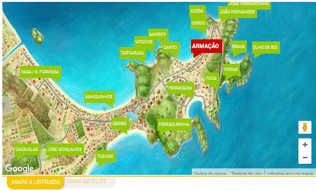 Mapa das Praias de Búzios - Fonte: www.buziosonline.com.br
