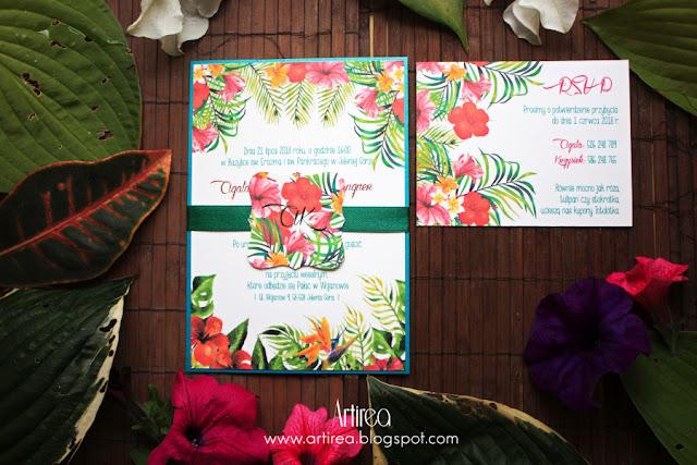 kolorowe, kwiatowe zaproszenia slubne tropikalne artirea