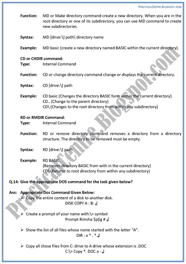 Practical Centre: Computer Software - Descriptive Questions Answers