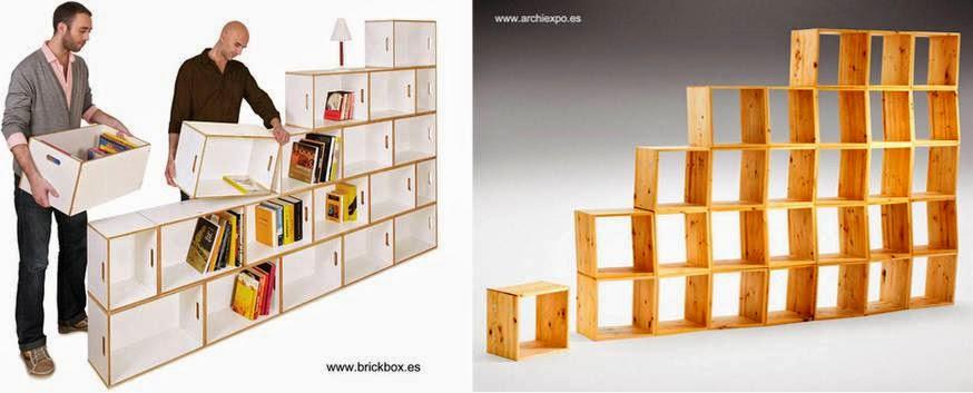 Dos estanterías modulares autoportantes con cuboides de madera