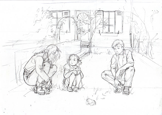 Edward, Alphonse Elric et Elysia Hugues dans un jardin - crayonné FMA