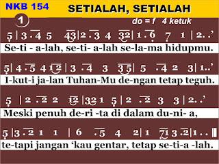 Lirik dan Not NKB 154 Setialah, Setialah