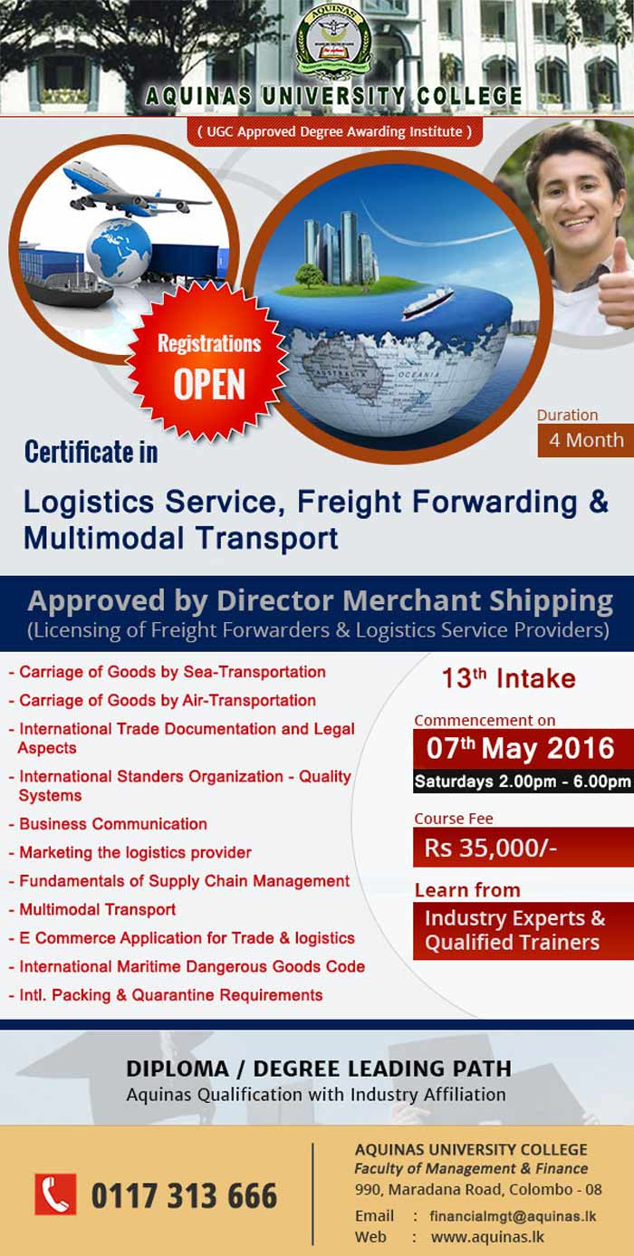 Certificate in Logistics Service, Freight Forwarding & Multimodal Transport- 13th Intake