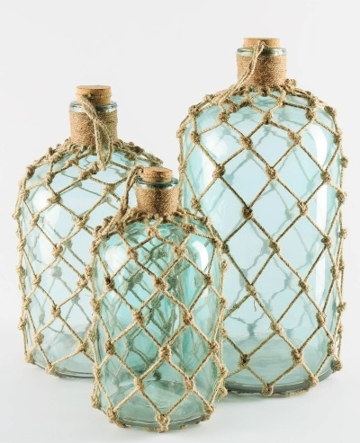 Rope Net Wrapped Glass Bottle Vases
