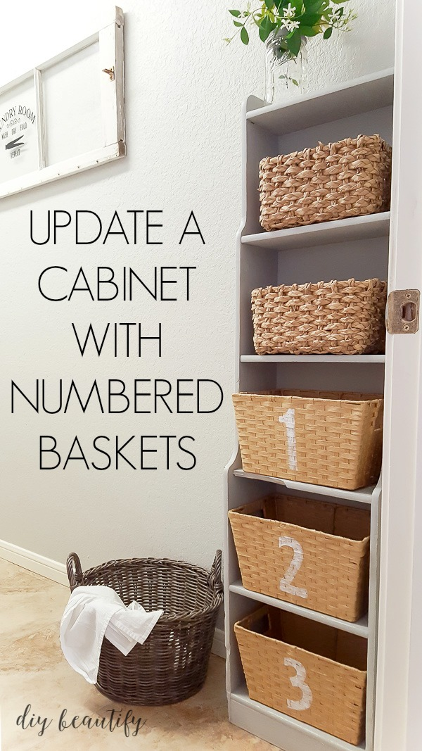 painted cabinet with numbered baskets for storage and organization