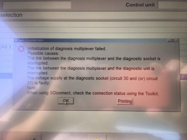 Initialization of diagnosis multiplexer failed.