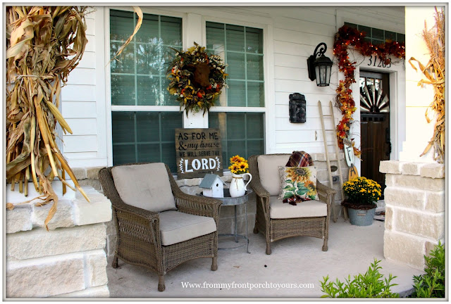 Fall Porch Decorations-Wicker Chairs-Fall Wreath-bessie-Sunflower Pillow-Farmhouse-From My Front Porch To yours