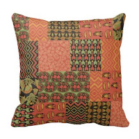 Egyptian Faux Patchwork Pillow or Cushion from Zazzle
