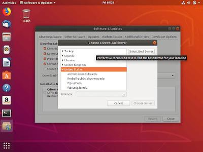 اختيار أفضل وأسرع سيرفر لتحميل التحديثات والبرامج الخاصة بنظام أوبنتو