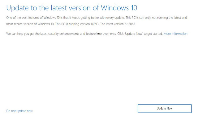 Upgrade to Windows 10 April 2018 update(1803) using these options