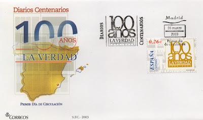 Sobre PDC del sello dedicado al Centenario del diario La Verdad