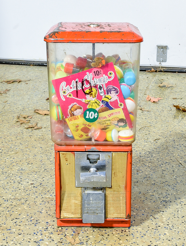 Vintage gumball machine before