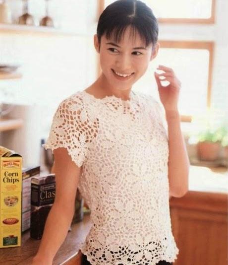 Blusa de Flores a Crochet