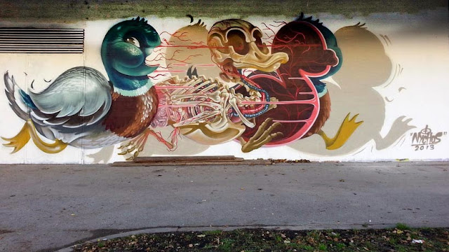 """""""Dissection Of A Duck"""" New Mural By Nychos in Alterlaa, Vienna. 1"""