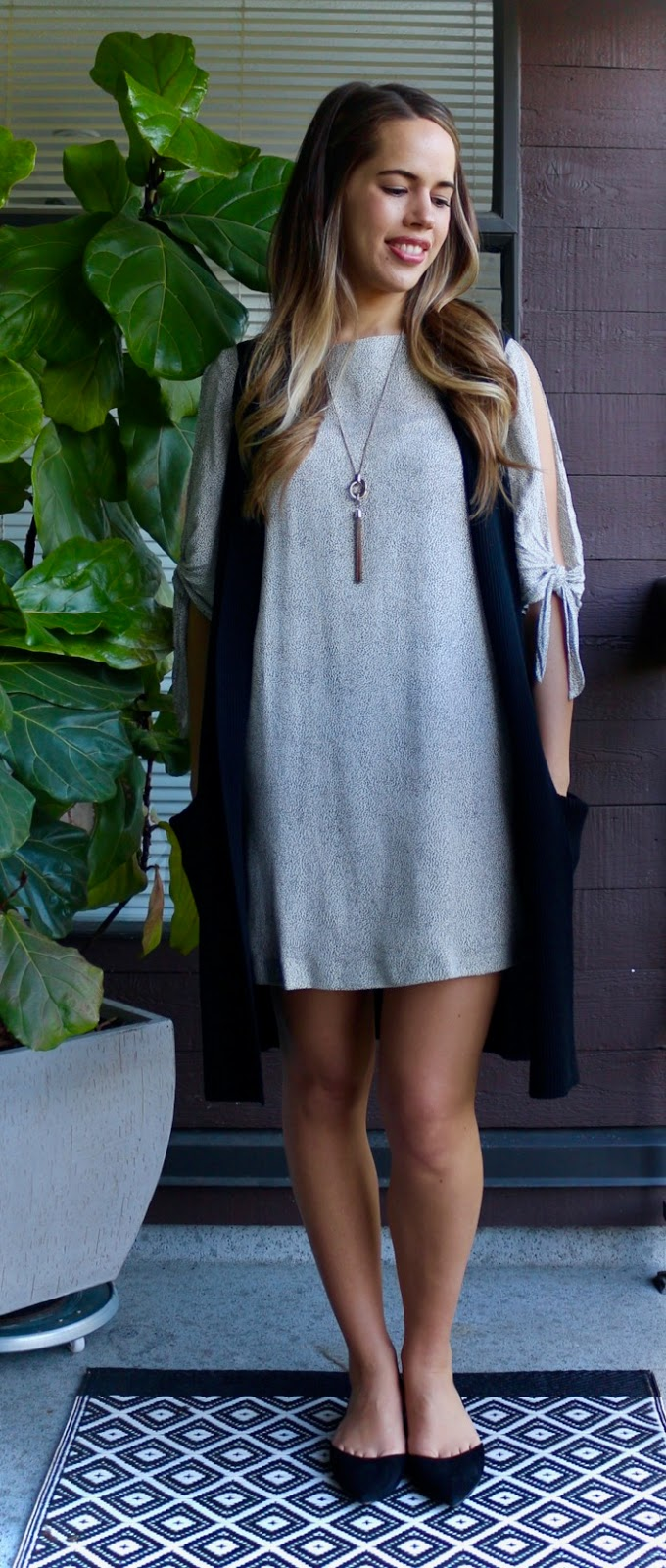 Jules in Flats - Tie-Sleeve Shift Dress with Sweater Vest
