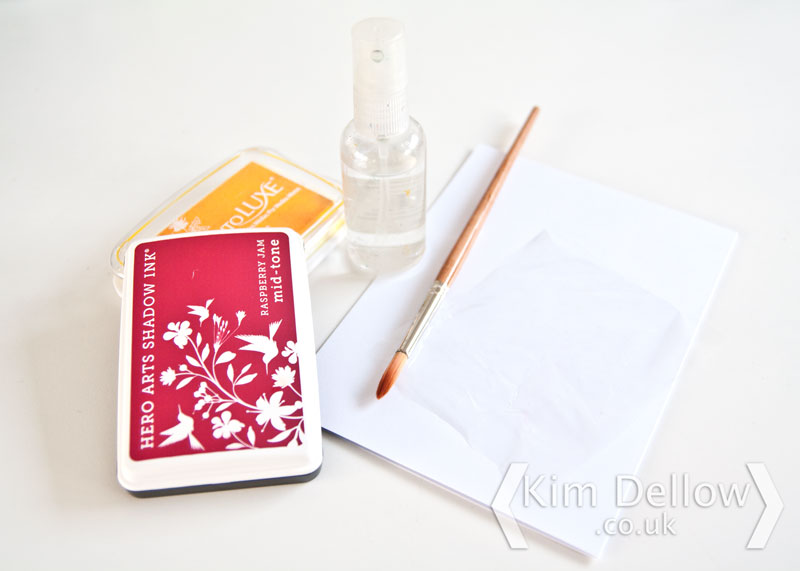Materials needed for Ink pad watercolouring