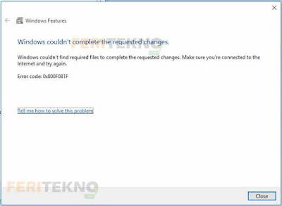 mengatasi kode error 0X800F081F 2