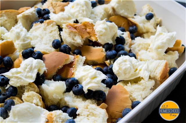 drop dollops of cream cheese mixture in casserole dish