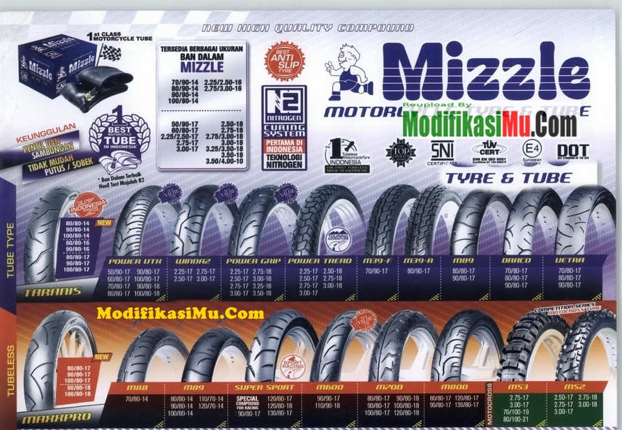 Brosur Katalog Daftar Harga Ban Motor Mizzle Tubeless Ban Luar dan Ban Dalam Terbaru Yang Murah