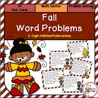 Fall Word Problem 2-Digit Addition and Subtraction Task Cards