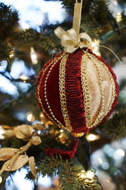 Burgundy and Gold Velvet Christmas Ornament Image