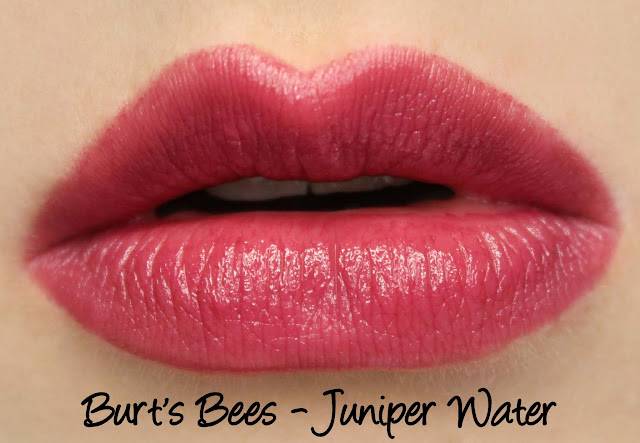 Burt's Bees Lipstick - Juniper Water Swatches & Review