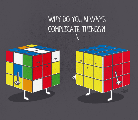 RUBIK CUBE COMPLICATE THINGS FUN HUMOR