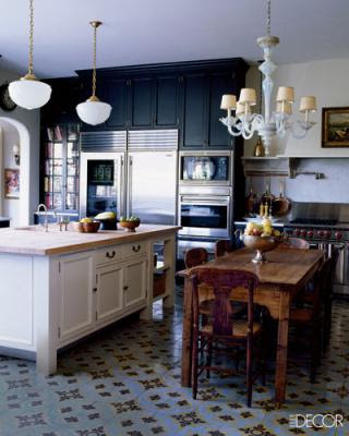 kitchens with black cabinets and white island
