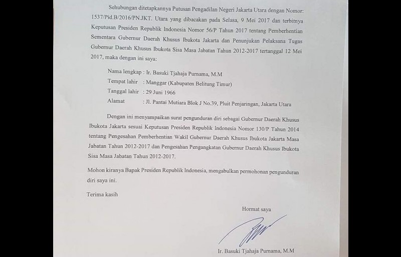Surat pengunduran diri Ahok dari gubernur